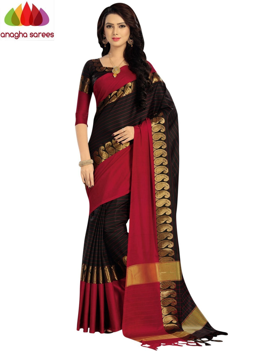 Anagha Sarees Cotton-silk Soft Cotton Silk Saree - Black/Red ANA_914