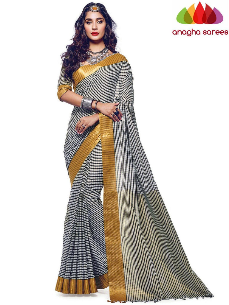 Soft Cotton Silk Saree - Black/White  ANA_568 Anagha Sarees