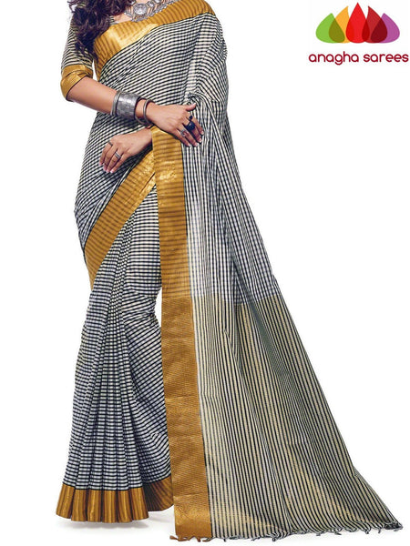 Anagha Sarees Cotton-silk Soft Cotton Silk Saree - Black/White  ANA_568