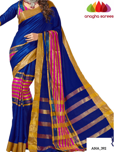 Anagha Sarees Cotton-silk Soft Cotton-Silk Saree - Blue ANA_392