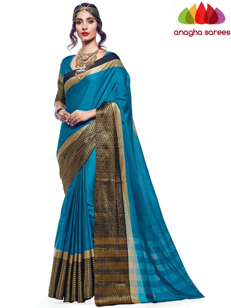 Anagha Sarees Cotton-silk Soft Cotton Silk Saree - Blue  ANA_574