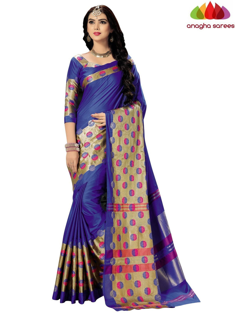 Soft Cotton Silk Saree - Blue/Gold ANA_742 Anagha Sarees