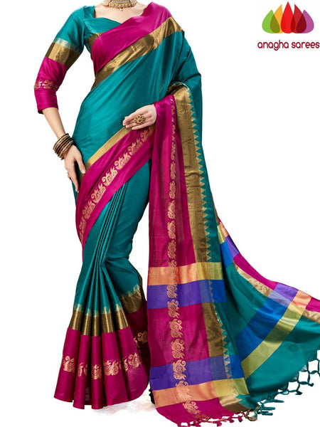 Anagha Sarees Cotton-silk Soft Cotton-Silk Saree - Bluish Green  ANA_A79