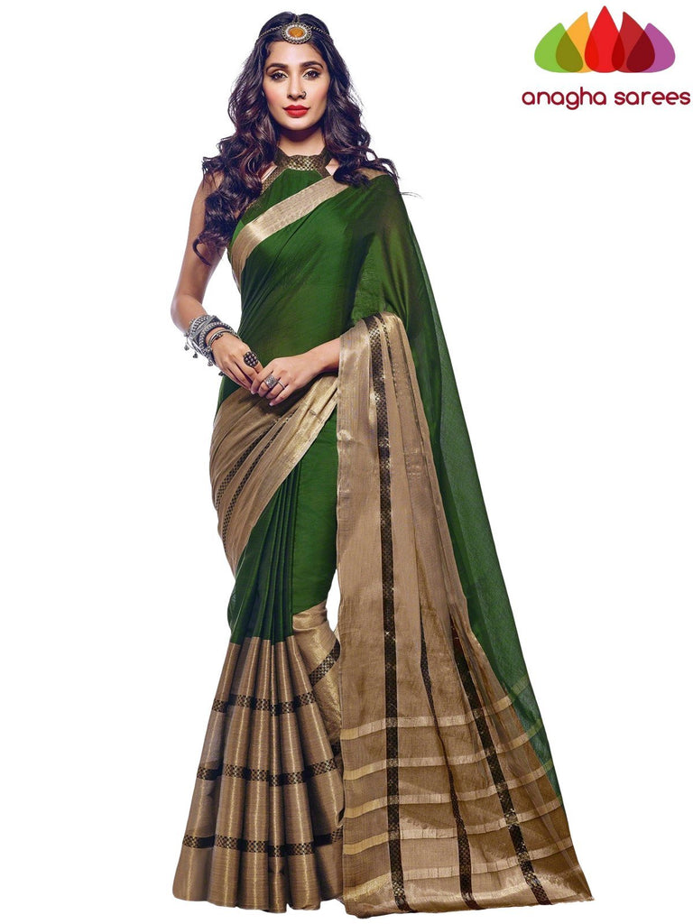 Soft Cotton Silk Saree - Bottle Green  ANA_575 Anagha Sarees