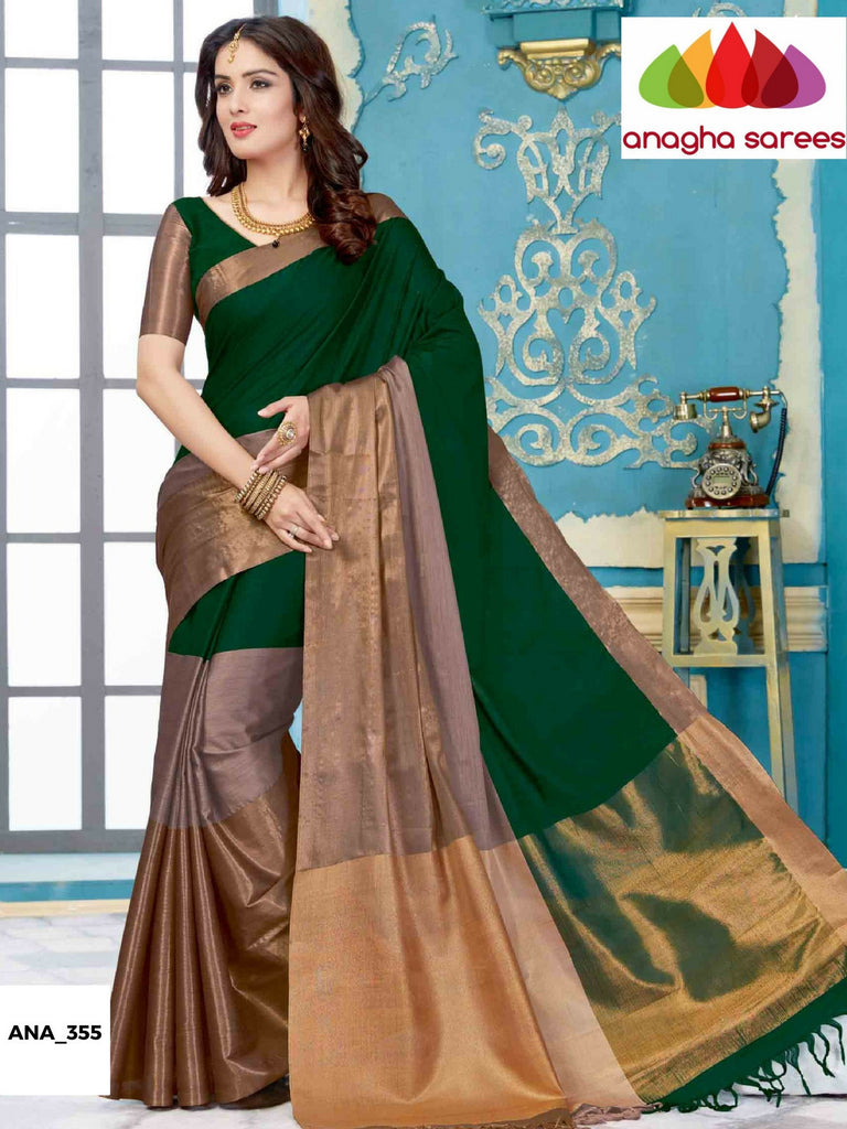 Soft Cotton-Silk Saree - Bottle Green/Grey  ANA_355 Anagha Sarees