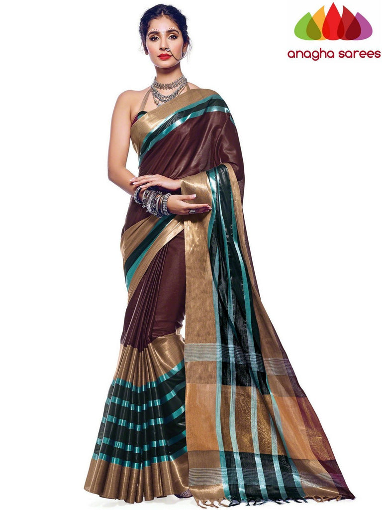 Soft Cotton Silk Saree - Brown  ANA_572 Anagha Sarees