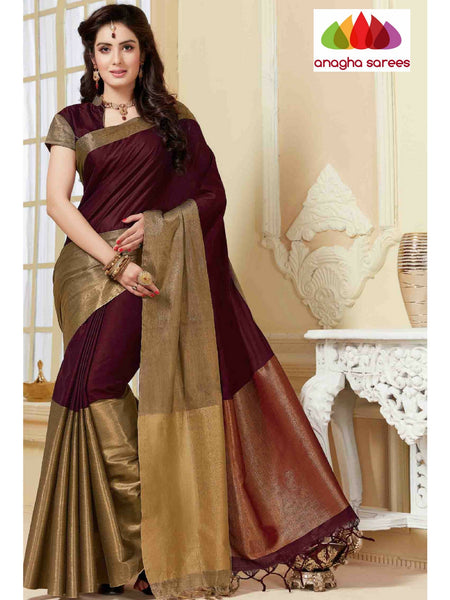 Anagha Sarees Cotton-silk Soft Cotton-Silk Saree - Coffee Brown ANA_326