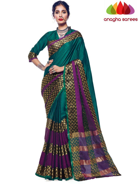 Anagha Sarees Cotton-silk Soft Cotton Silk Saree - Dark Green  ANA_565