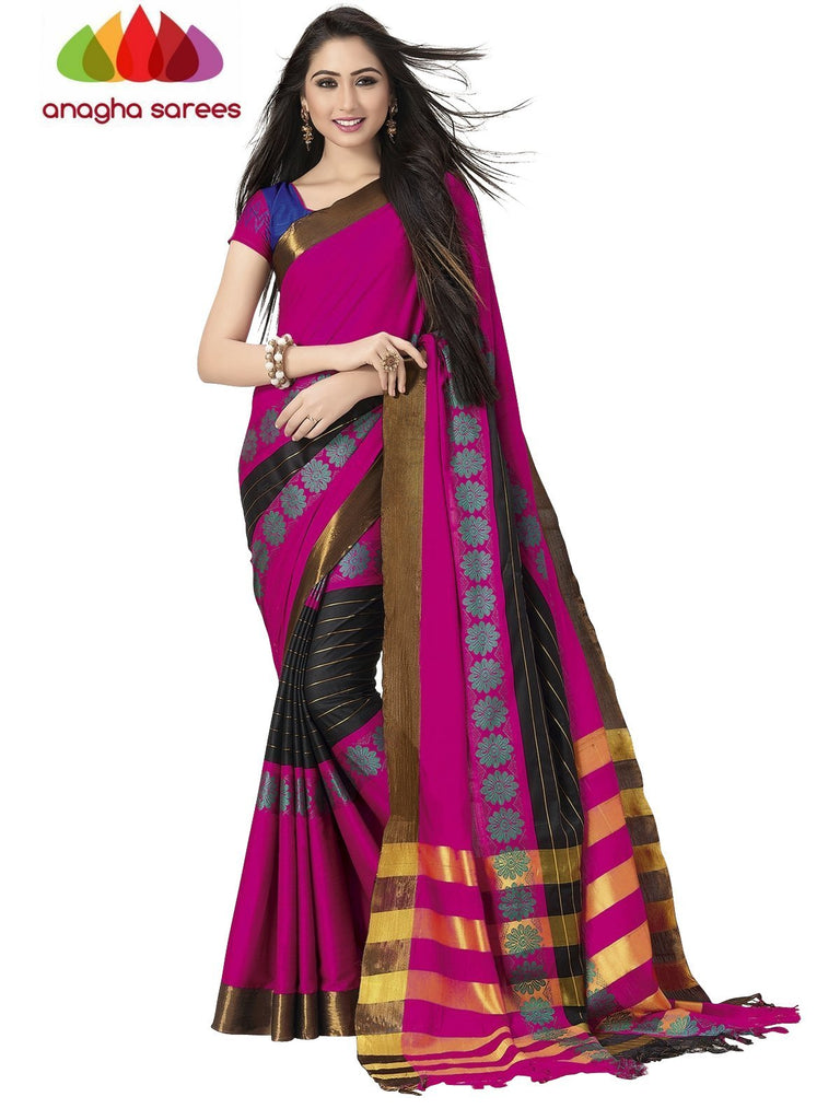 Soft Cotton Silk Saree - Dark Pink/Blue ANA_758 Anagha Sarees