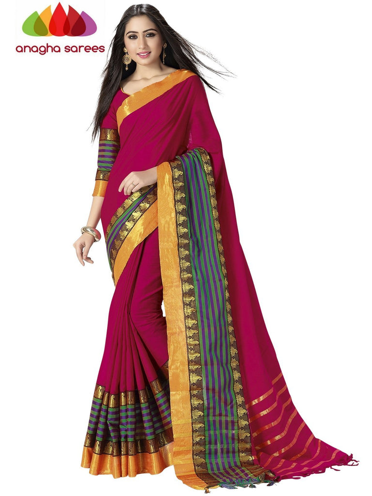 Soft Cotton Silk Saree - Dark Pink/Multicolor ANA_759 Anagha Sarees