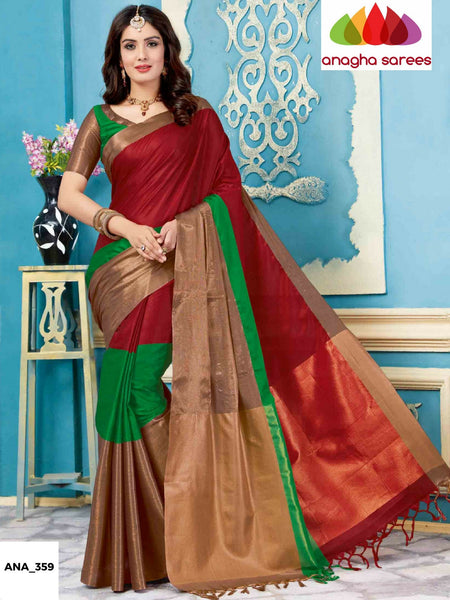 Anagha Sarees Cotton-silk Soft Cotton-Silk Saree - Dark Red/Green ANA_359