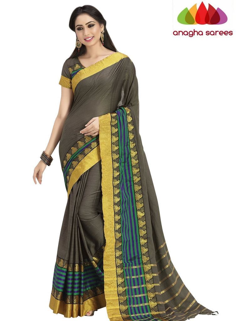 Soft Cotton Silk Saree - Elephant Grey/Multicolor ANA_760 Anagha Sarees