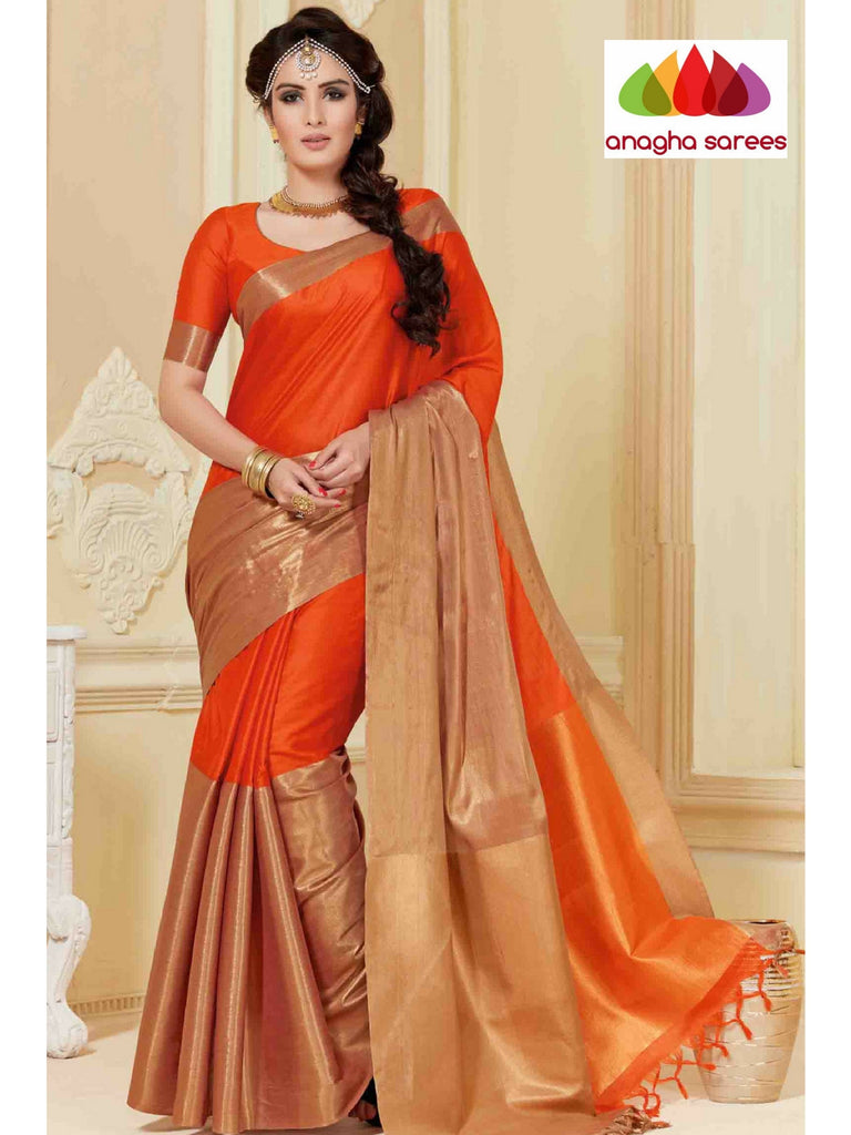 Anagha Sarees Cotton-silk Soft Cotton-Silk Saree - Fanta Orange ANA_324