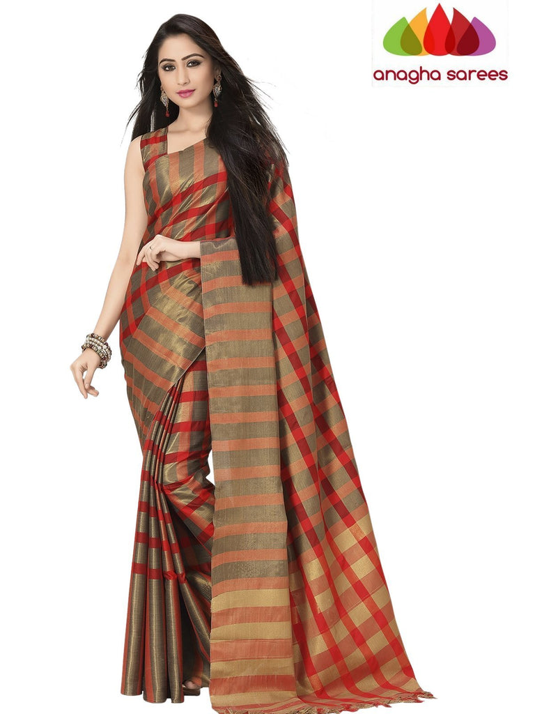 Anagha Sarees Cotton-silk Soft Cotton Silk Saree - Gold/Red ANA_761