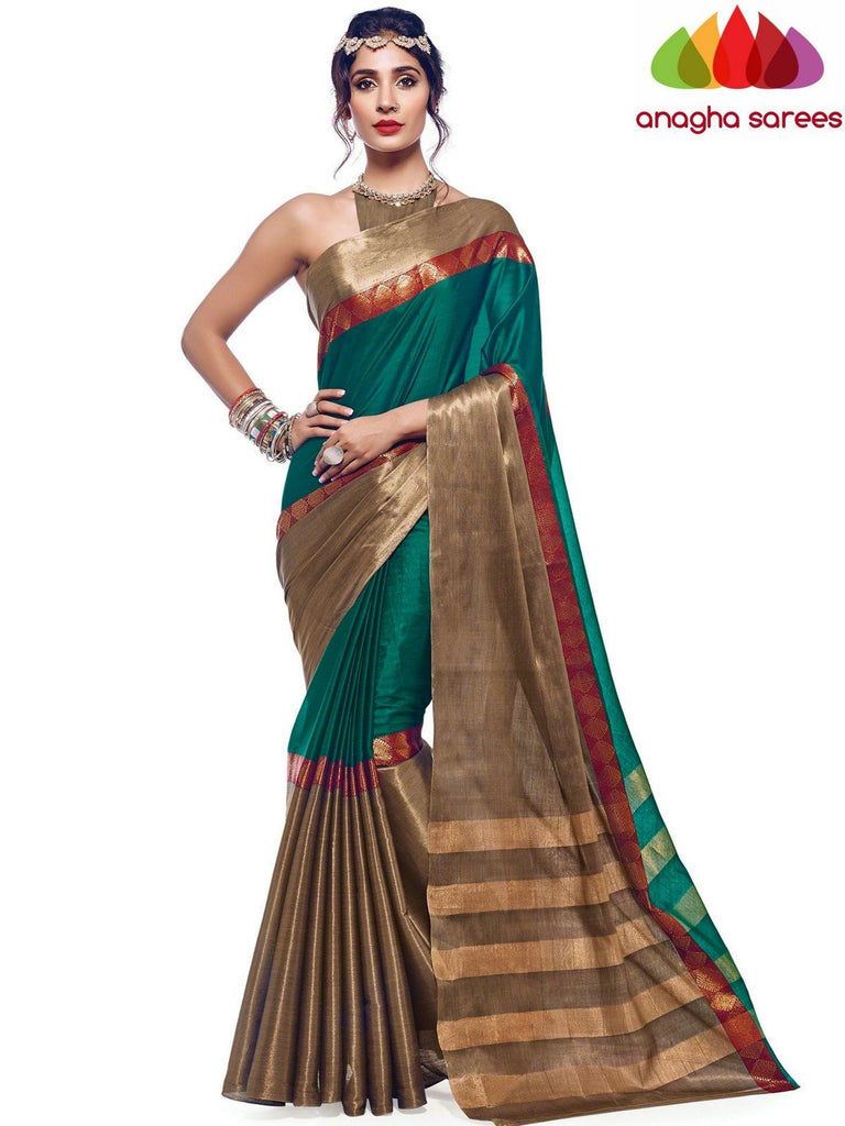 27c6e53f78 Anagha Sarees Cotton-silk Soft Cotton Silk Saree - Green ANA_579