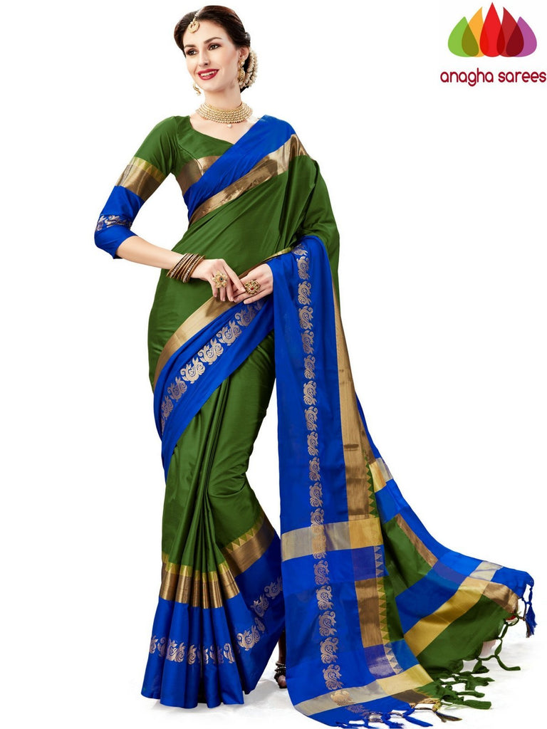 Soft Cotton-Silk Saree - Green  ANA_A74 Anagha Sarees