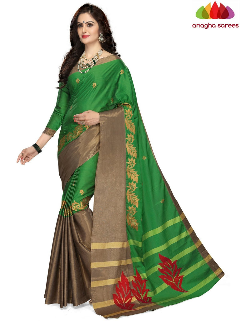 Anagha Sarees Cotton-silk Soft Cotton-Silk Saree - Green  ANA_B18