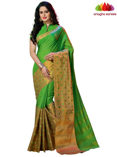 Soft Cotton-Silk Saree - Parrot Green ANA_B22 - Anagha Sarees