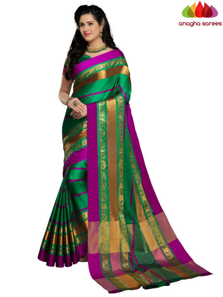 Anagha Sarees Cotton-silk Soft Cotton-Silk Saree - Green ANA_B87