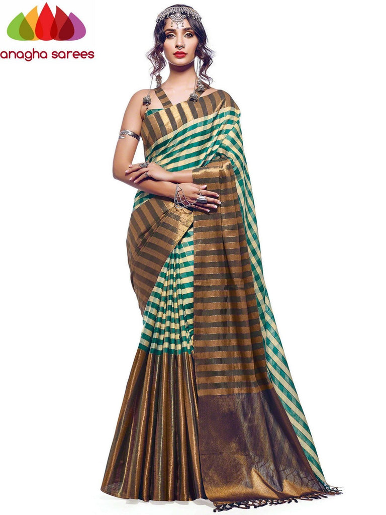 Soft Cotton Silk Saree - Green/Beige  ANA_573 Anagha Sarees
