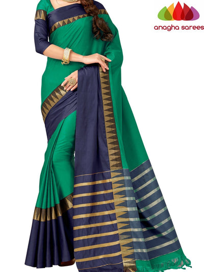Soft Cotton-Silk Saree - Green/Blue  ANA_518 - Anagha Sarees
