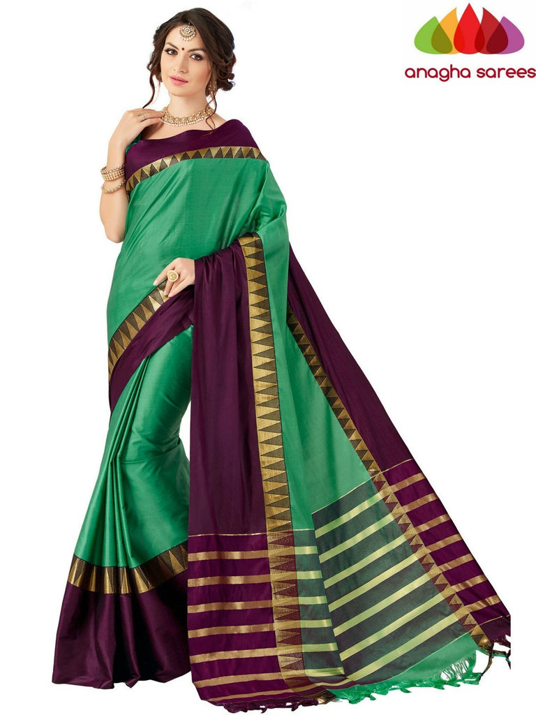 Soft Cotton-Silk Saree - Green/Brown ANA_515 Anagha Sarees