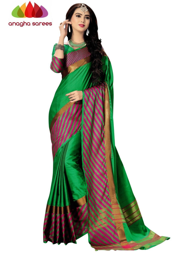 Soft Cotton Silk Saree - Green/Pink ANA_743 Anagha Sarees