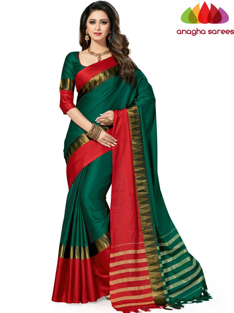 Soft Cotton-Silk Saree - Green/Red  ANA_516 Anagha Sarees