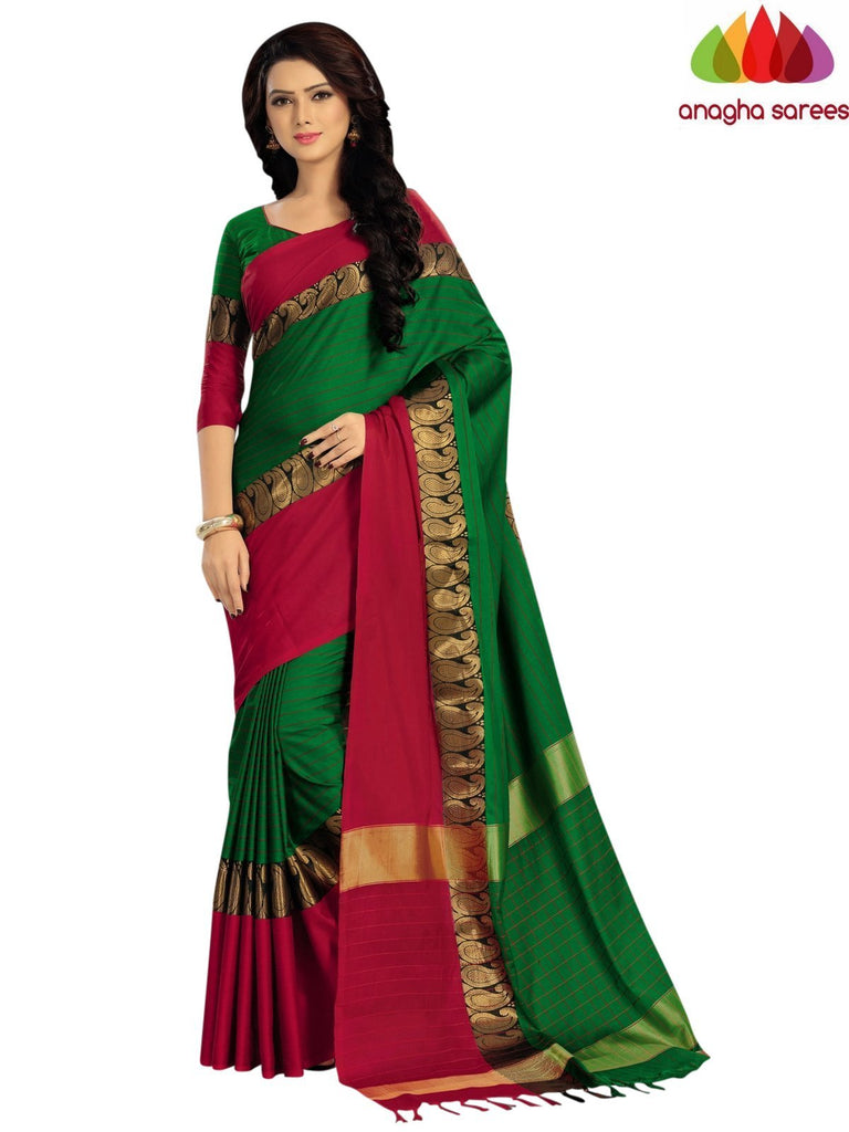Soft Cotton Silk Saree - Green/Red  ANA_917 Anagha Sarees