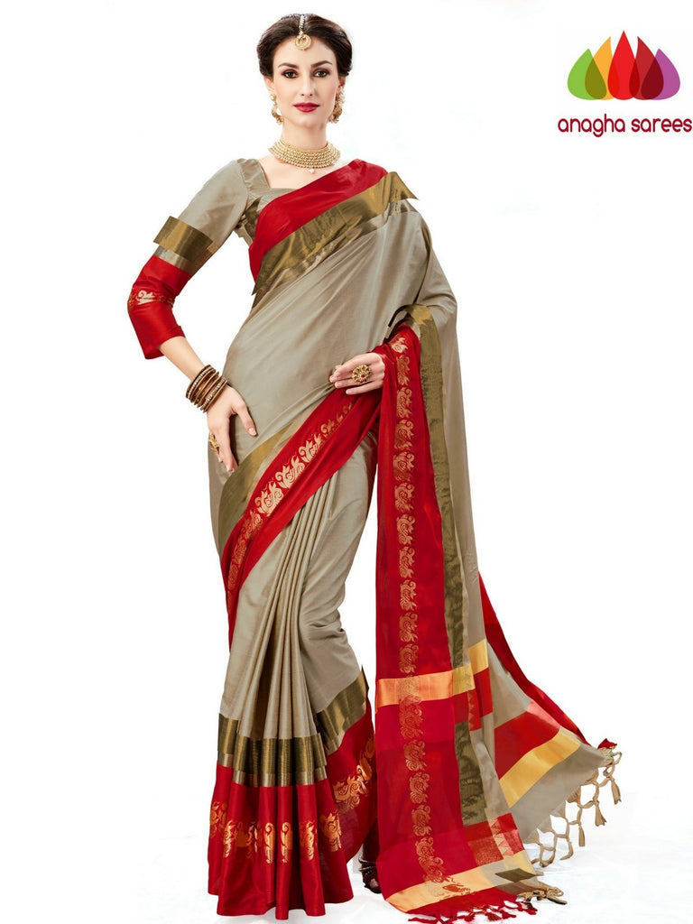 Soft Cotton-Silk Saree - Grey  ANA_A75 Anagha Sarees