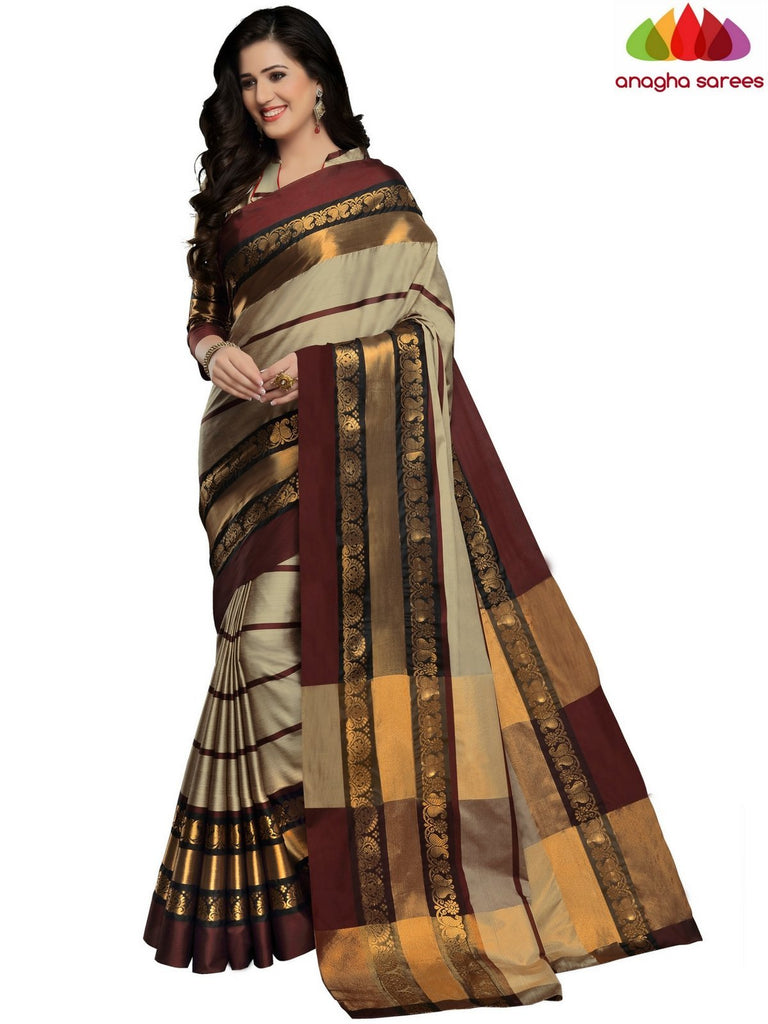 Anagha Sarees Cotton-silk Soft Cotton-Silk Saree - Grey ANA_B90