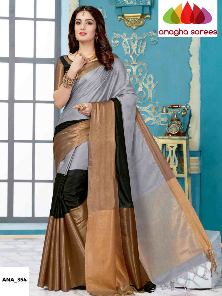 Soft Cotton-Silk Saree - Grey/Black  ANA_354 Anagha Sarees