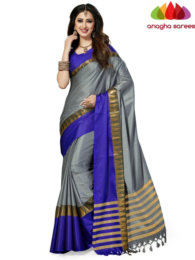 Soft Cotton-Silk Saree - Grey/Blue ANA_514 Anagha Sarees