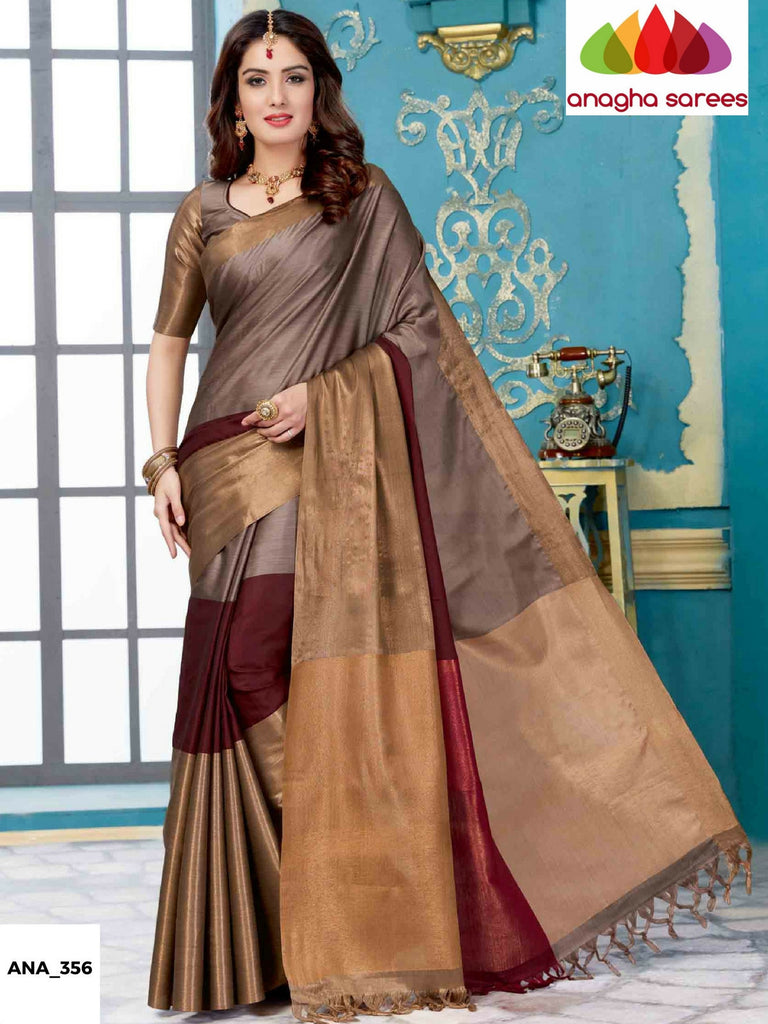Anagha Sarees Cotton-silk Soft Cotton-Silk Saree - Grey/Dark Brown ANA_356