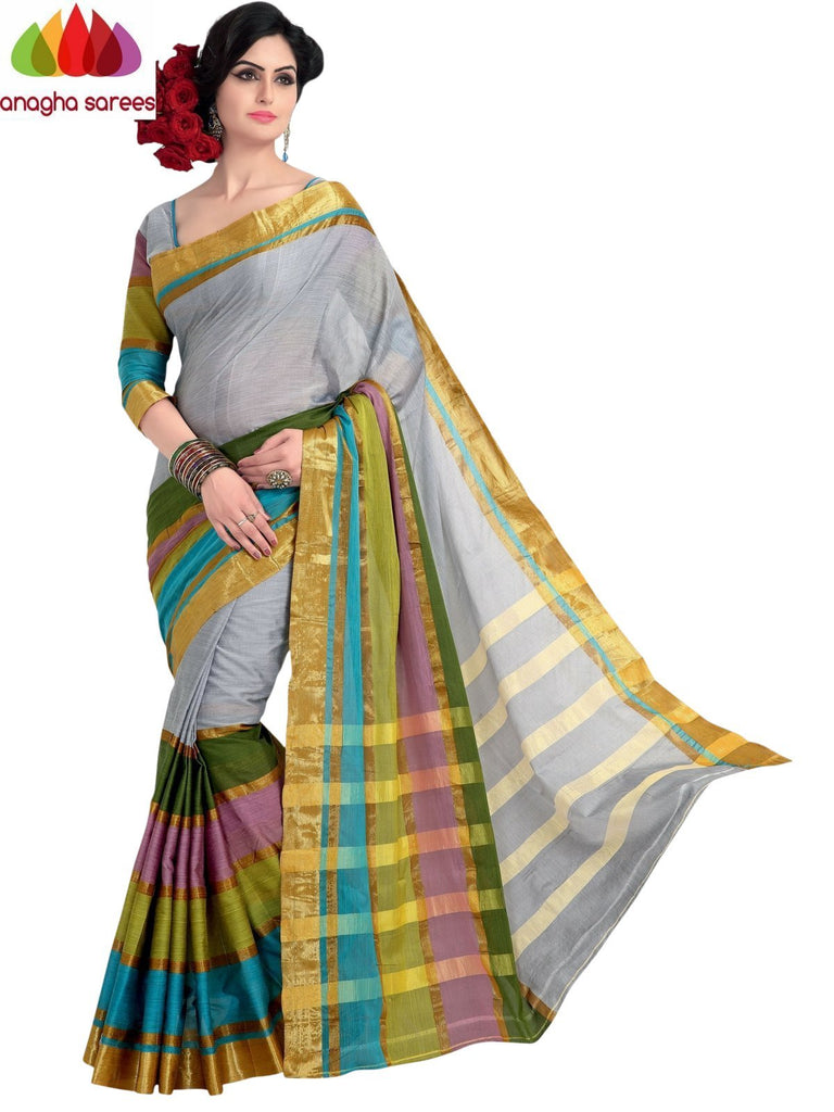 Soft Cotton Silk Saree - Grey/Multicolor ANA_980 Anagha Sarees