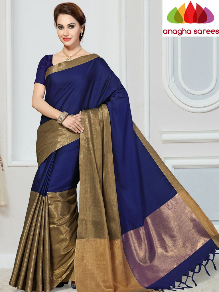 Soft Cotton-Silk Saree - Ink Blue  ANA_258 Anagha Sarees