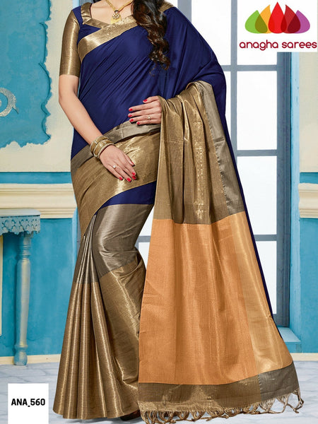 Anagha Sarees Cotton-silk Soft Cotton-Silk Saree - Ink Blue/Grey ANA_560