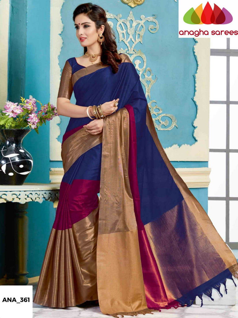 Soft Cotton-Silk Saree - Ink Blue/Magenta ANA_361 Anagha Sarees