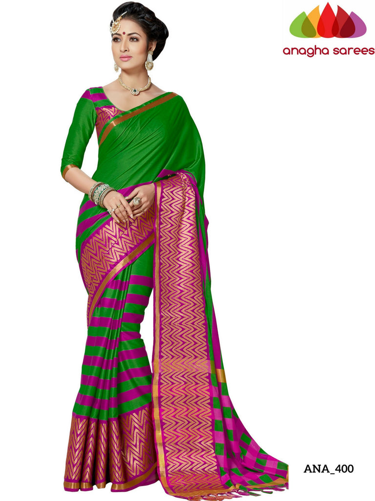 Soft Cotton-Silk Saree - Light Green/Pink ANA_400 Anagha Sarees