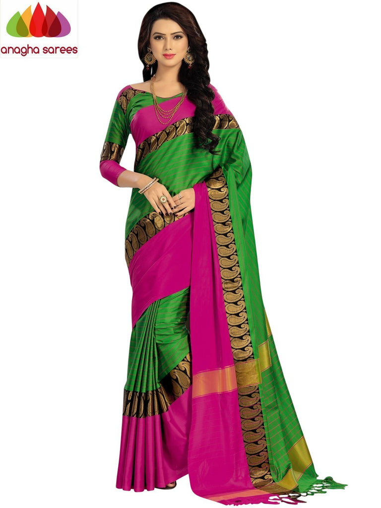 Soft Cotton Silk Saree - Light Green/Pink  ANA_916 Anagha Sarees