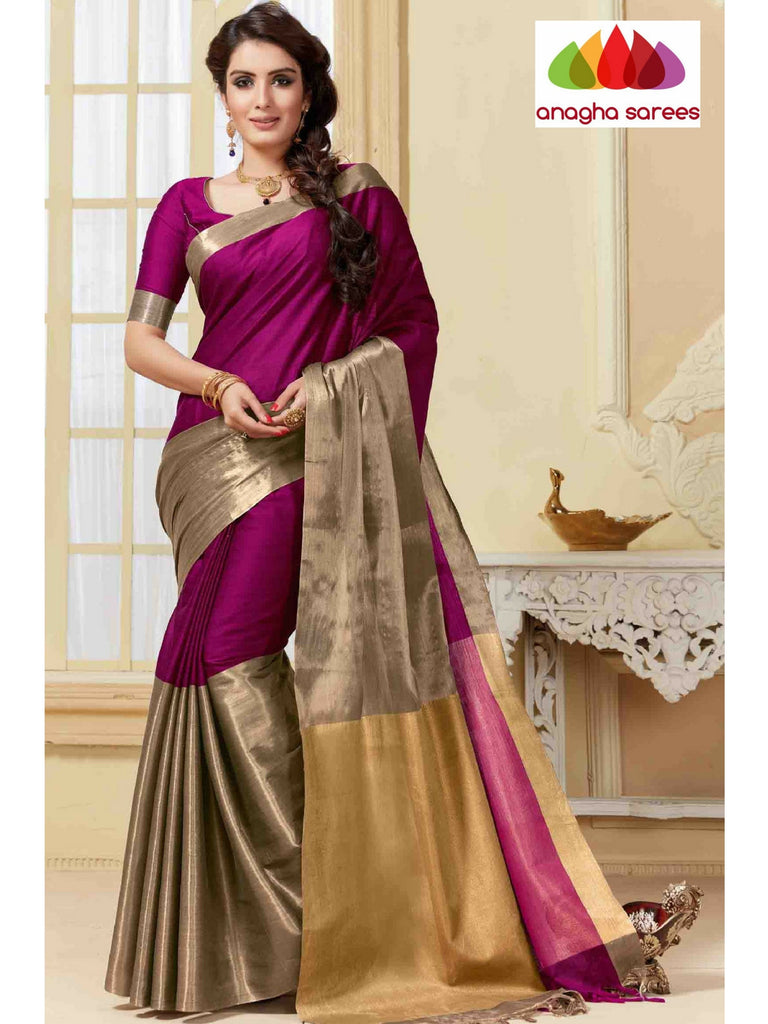 Soft Cotton-Silk Saree - Light Magenta ANA_325 Anagha Sarees