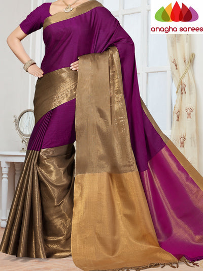Anagha Sarees Cotton-silk Soft Cotton-Silk Saree - Magenta  ANA_252