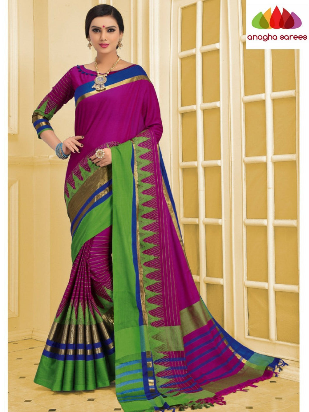 Anagha Sarees Cotton-silk Soft Cotton-Silk Saree - Magenta ANA_C07