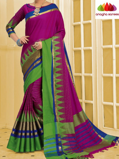 Soft Cotton-Silk Saree - Magenta ANA_C07 - Anagha Sarees