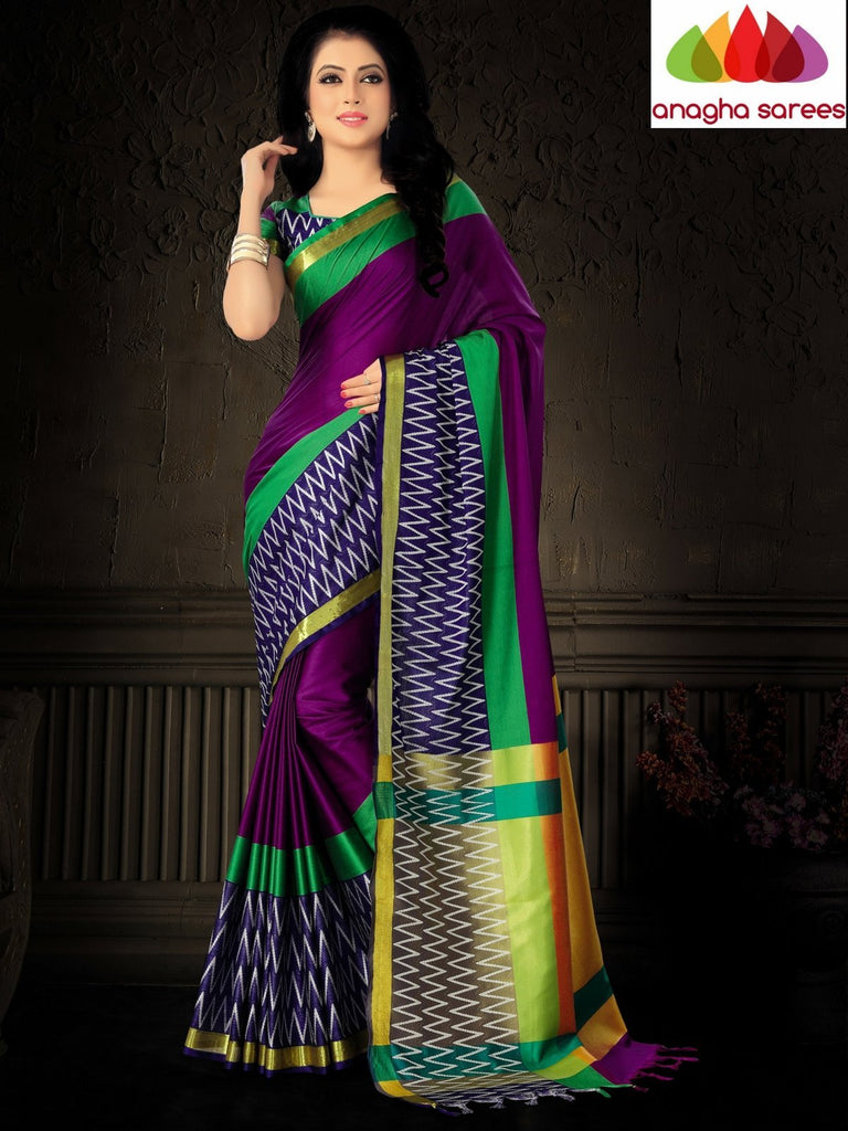 Soft Cotton Silk Saree - Magenta/Blue ANA_806 Anagha Sarees