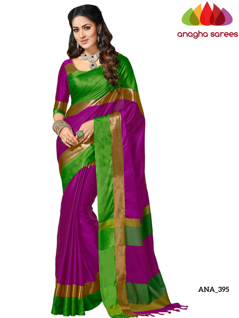Soft Cotton-Silk Saree - Magenta/Green ANA_395 Anagha Sarees