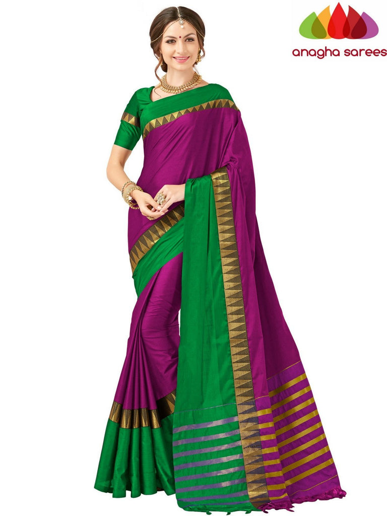 Anagha Sarees Cotton-silk Soft Cotton-Silk Saree - Magenta/Green  ANA_510