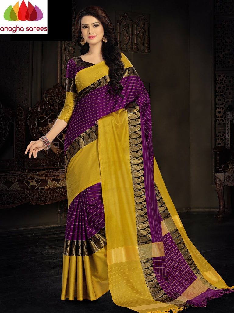 Soft Cotton Silk Saree - Magenta/Yellow  ANA_920 Anagha Sarees