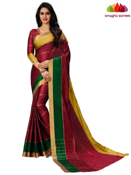Soft Cotton-Silk Saree - Maroon ANA_B09