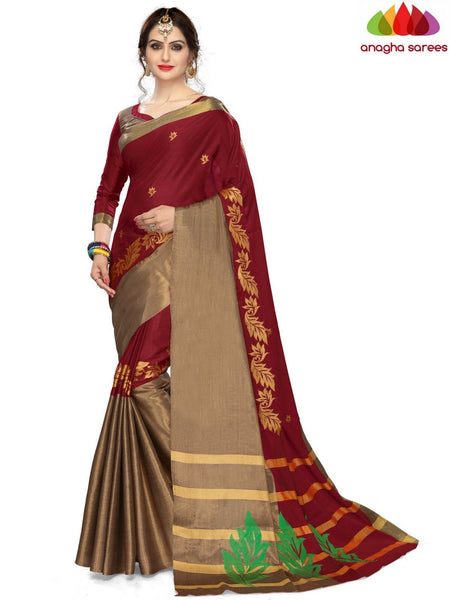 Soft Cotton-Silk Saree - Maroon ANA_B13